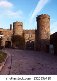 Western entrance to the Crimean Vorontsov Palace in Alupka with towers at sunset