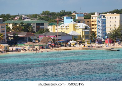 Western Esplanade Beach, Nassau, Bahamas - September 22, 2017: Very popular with tourists due to its proximity to New Providence downtown. Many bars and music make the place enjoyable.
