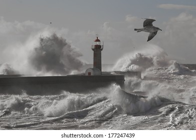 Western Europe Atlantic stormy waves at the entrance of an harbor.