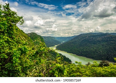 western ghat amazing dense greenery with leading river image is taken at karnataka india. it is fully covered with western ghat forests.