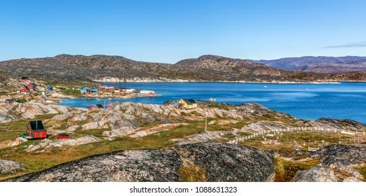 Western Greenland. Panoramic view of village Oqaatsut. Disko Bay