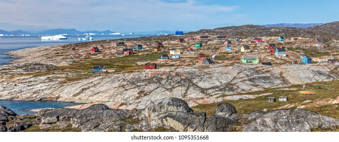 Western Greenland. Panoramic view of village Oqaatsut. Disko Bay