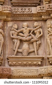 Western Group of temples of Khajuraho famous for their erotic sculptures, India.