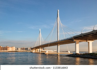 Western high-speed diameter and cable-stayed bridge across the Petrovsky fairway, St. Petersburg, Russia