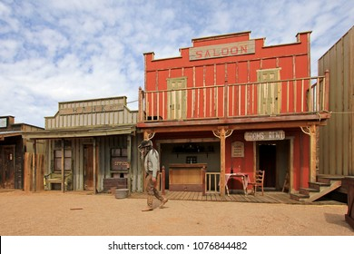 Western houses on the stage of the O.K. Corral gunfight in Tombstone Arizona USA