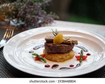 Western Menu - Tournedos Rossini. french steak dish with foie gras