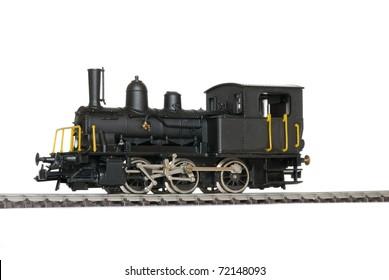 Western model railway over white background.
