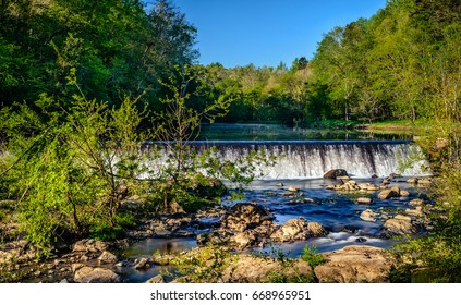 The western point of Eno River State Park in Durham, North Carolina. This is one of the best parks in the city just few miles from Duke University, with lots of hiking trails below the thick forest.