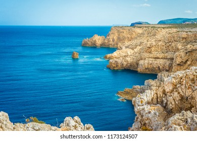 Western point of the Merda Cave on Minorca Island northern shore, Balearic Islands, Spain.