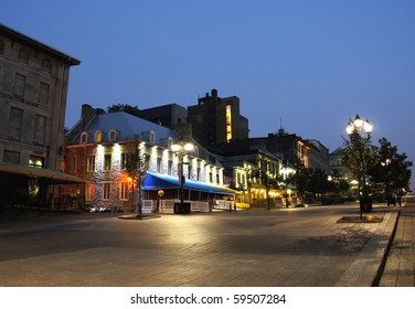 Western Portion of Place Jacques-Cartier in Old Montreal at dusk