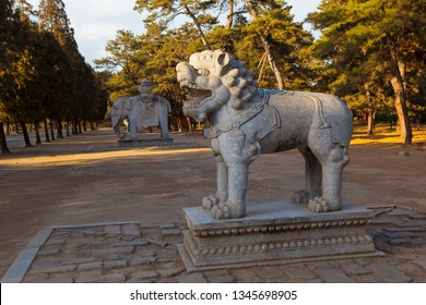 Western Qing Mausoleums –The Stone carved statue in the main way . The Wastern Qing Mausoleums is one of the last dynasty Mausoleum area in China. It is located in Yixian, Hebei, China.