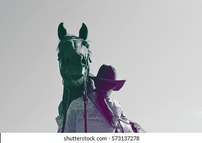 Western retro background image.  Horse with cowgirl, vintage feel with gray tones.