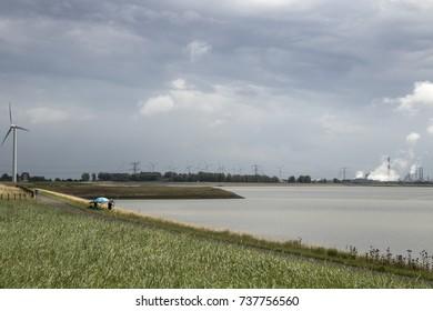 Western Scheldt,Estuary, august 2017: View over the Western Scheld