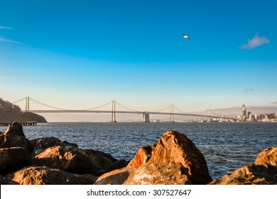 The western span of the Oakland Bay Bridge from Treasure Island at sunrise.