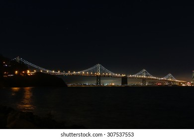 The western span of the Oakland Bay Bridge at night.