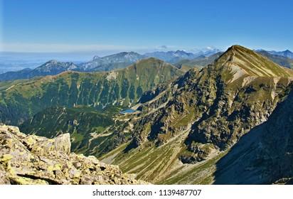Western Tatras in Slovakia, high rocky mountains under ble sky