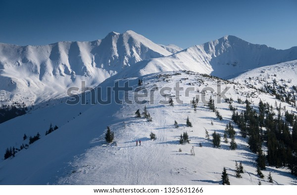 Western Tatras - Roháče, winter crossing ridge on skialpinist skis, Slovakia.