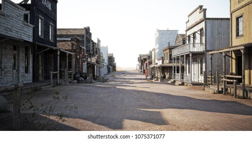 Western town road with various businesses and Depth of field . 3d rendering