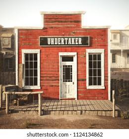 Western town rustic undertaker. 3d rendering . Part of a Western town series.