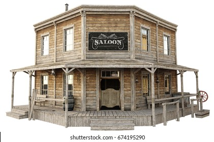 Western town saloon on an isolated white background. 3d rendering