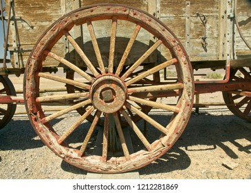 Western wagon wheel used on 20 mule team wagons to haul Borax in Death Valley, CA.