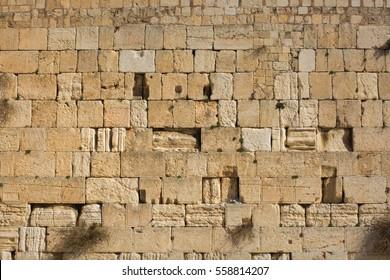 Western Wall bricks background.