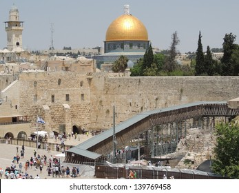 Western Wall with Dome of the Rock behind. Old City, Jerusalem, Israel