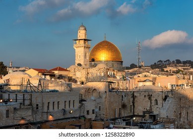 Western Wall and golden Dome of the Rock in Jerusalem Old City, Israel