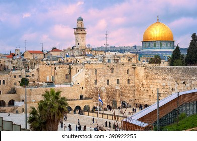 The Western Wall and the golden Dome of the Rock in Jerusalem, Israel, on sunset