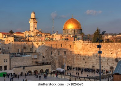 Western Wall and golden Dome of the Rock at sunset, Jerusalem Old City,  Israel.