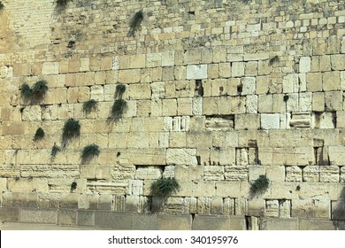 Western Wall in Jerusalem, holy site in judaism as the outside wall for the Second Temple