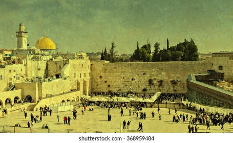 Western Wall in Jerusalem is a major Jewish sacred place. Image toned with vintage textured grunge background for inspiration of retro style
