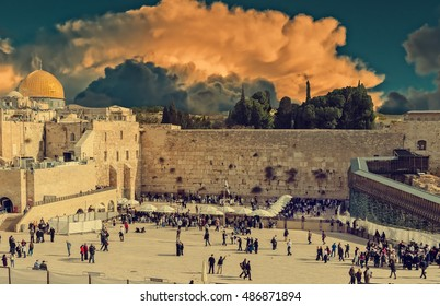 Western Wall in Jerusalem is a major Jewish sacred place. Image was toned for inspiration of vintage style