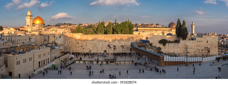 Western Wall in Jerusalem Old City panoramic view at sunset, Israel.