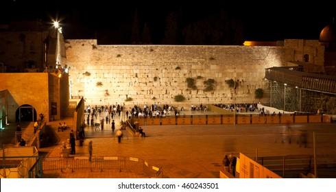 Western wall at night, Jerusalem. Israel