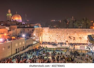 Western wall at night in Jerusalem Old City, Israel.