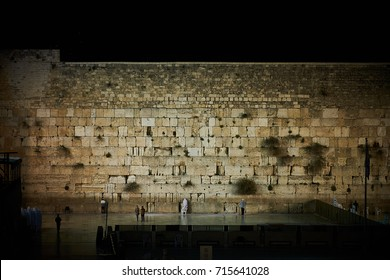 The Western Wall on sabbath at night.
