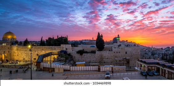 Western Wall Plaza and the Temple Mount at sunrise
