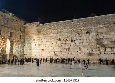 Western Wall (Wailing wall) in Jerusalem at night.