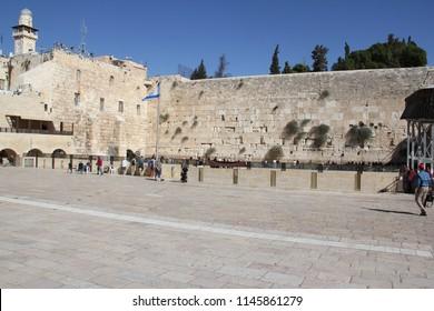 The Western Wall, Wailing Wall, Kotel, Buraq Wall, is an ancient limestone wall in the Old City of Jerusalem