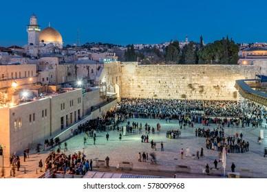 Western Wall, Wailing Wall or Kotel in Jerusalem during Shabbat pray, Israel