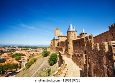 Western walls of Cite de Carcassonne in France