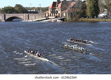 Westerville (left)  East Bay Rowing(center) Rye High School(right) BOSTON - OCTOBER 23, 2016: ZZZ Crew races in the Head of Charles Regatta Men's Youth Eights [PUBLIC RACE]