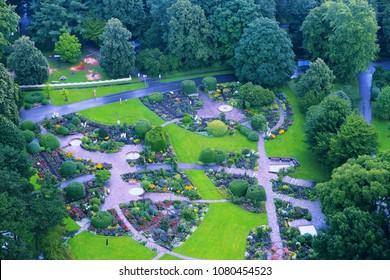 Westfalenpark flower garden in Dortmund, Germany. Retro filtered color style.