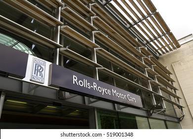 WESTHAMPNETT, UNITED KINGDOM - AUGUST 11: Rolls-Royce Motor Cars entrance hall at the Goodwood car factory on August 11, 2016 in Westhampnett, United Kingdom.