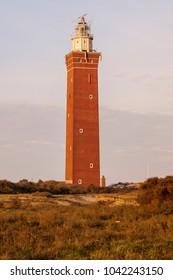 Westhoofd Lighthouse in Netherlands. Ouddorp, Zeeland, Netherlands.