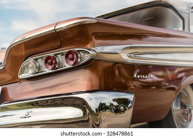 WESTLAKE, TEXAS - OCTOBER 17, 2015: Taillight details of a 1959 Edsel Corsair Sedan classic car, manufactured by the Ford Motor Company.