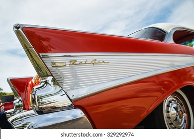 WESTLAKE, TEXAS - OCTOBER 17, 2015: Tail fin and taillight details of a red 1957 Chevrolet Bel Air classic car.