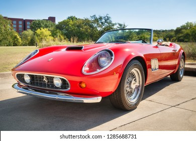 Westlake, Texas - October 18, 2014: Front side view of a red 1962 Ferrari 250 GT California Spyder classic car.