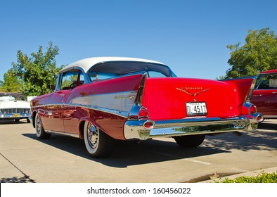 WESTLAKE, TEXAS - OCTOBER 19: A 1957 Chevrolet Bel Air 2dr hardtop is on display at the 3rd Annual Westlake Classic Car Show on October 19, 2013 in Westlake, Texas. Rear view.